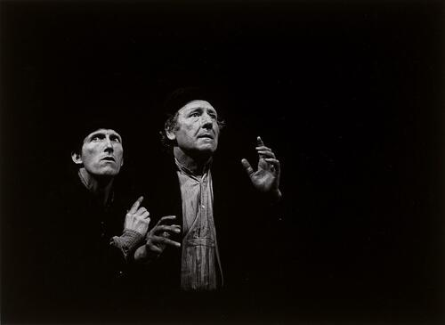 Waiting for Godot, text by Samuel Beckett, staging by Otomar Krejca. Avignon Festival, 1978. Rufus (Estragon) and Georges Wilson (Vladimir) / photographs by Fernand Michaud.