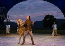 """Britney Simpson and Tyler Fauntleroy, foreground, with, in the background, Kayla Coleman, left,  and Howard W. Overshown in Ryan Quinn's production of """"The Tempest."""" photo by T. Charles Erickson"""